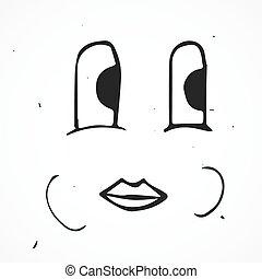 carino, faccia, mano, vettore, disegnato, cartone animato, felice