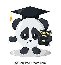 carino, giustizia, cappello, disegno, appartamento, space), panda, libro, divertente, (copy