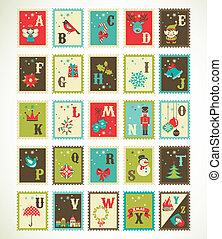 carino, icone, alfabeto, natale, vettore, retro, natale