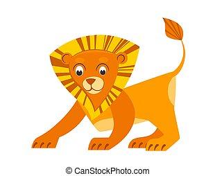 carino, illustrazione, leone, appartamento, style., abc, poco, vettore, animale, book., africano