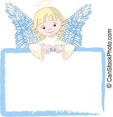 carino, invitare, angelo, &, scheda posto