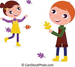 carino, isolato, bambini, autunno, bianco
