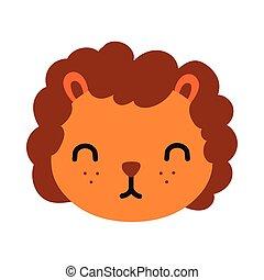 carino, leone, poco, stile, appartamento