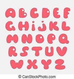 carino, mano, alphabet., disegnato