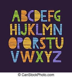 carino, mano, disegnato, alfabeto