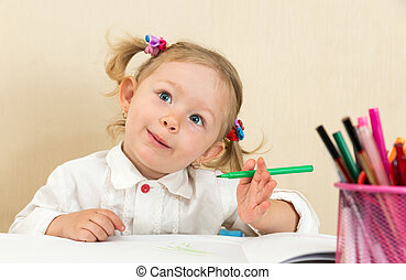 carino, matite, colorito, felt-tip, asilo, penna, bambino, tavola, ragazza, disegno, prescolastico