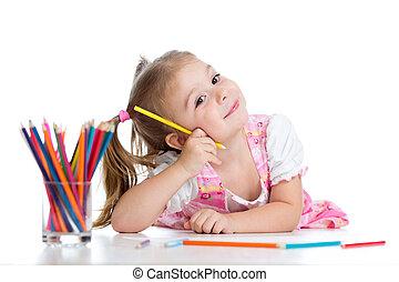 carino, matite, pavimento, allegro, mentre, bambino, usando, disegno, dire bugie