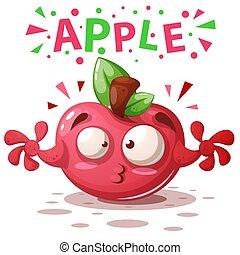 carino, mela, -, illustrazione, characters., cartone animato