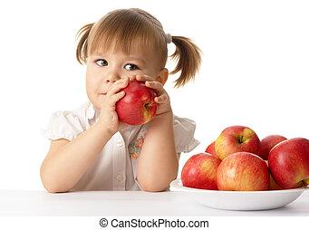 carino, mele, bambino