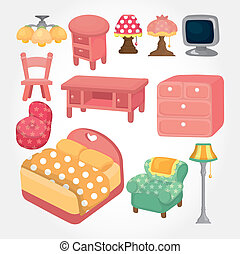 carino, mobilia, set, cartone animato, icona