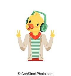 carino, moda, cuffie, appartamento, carattere, illustrazione, vettore, hipster, ascolto, anatra, musica, tipo, pulcino, uccello