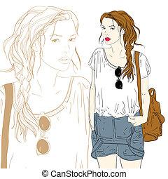 carino, moda, illustrazione, borsa, vettore, ragazza