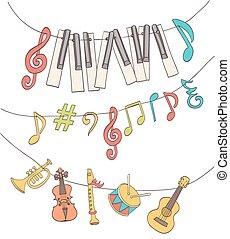 carino, note, strumenti, bunting., chiavi, musicale, vettore, appeso, pianoforte, segni, bambini, cartone animato