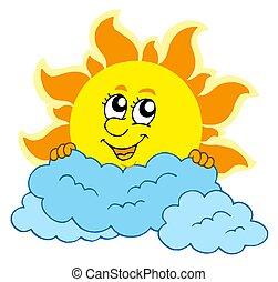 carino, nubi, cartone animato, sole