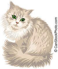 carino, occhi, lilla, lanuginoso, gatto, vettore, verde
