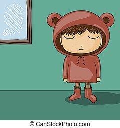 carino, orso, orecchio, cartone animato, cappuccio, capretto