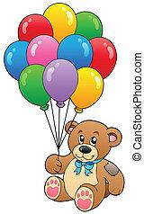 carino, palloni, orso, presa a terra, teddy