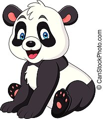 carino, panda, cartone animato