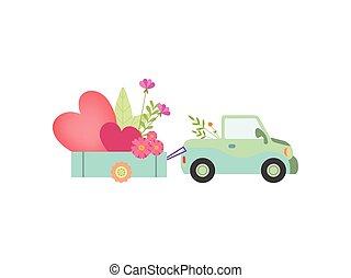 carino, pieno, automobile, illustrazione, vettore, carrello, cuori, fiori