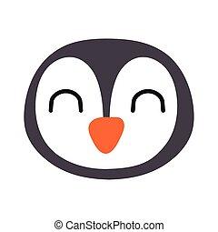 carino, pinguino, stile, poco, appartamento, uccello