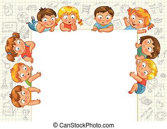 carino, poco, bambini, mostra, vuoto, poste