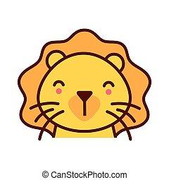 carino, poco, carattere, animale, leone