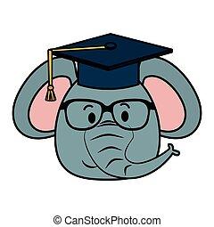 carino, poco, carattere, elefante