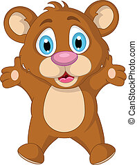 carino, poco, cartone animato, orso, marrone