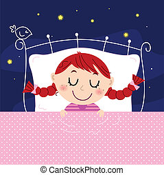 carino, poco, cielo, letto, fondo, sognare, ragazza