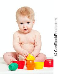 carino, poco, colorare, sopra, isolato, giocattoli, bambino, bianco, gioco