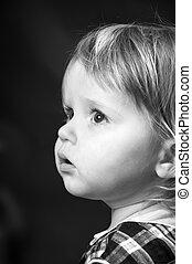 carino, poco, colori, nero, bambino, ritratto, bianco