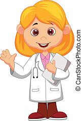 carino, poco, dottore femmina, w, cartone animato