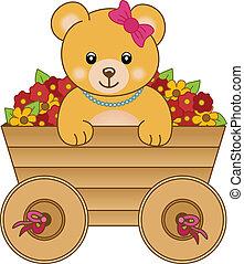 carino, poco, fiore, dentro, orso, carrello