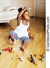 carino, poco, giocattoli, americano, ho, animale, africano, ragazza, gioco