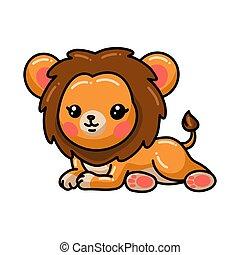 carino, posa, cartone animato, leone, giù, poco