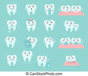 carino, problemi, trattare, odontoiatria, cartone animato, teeth.