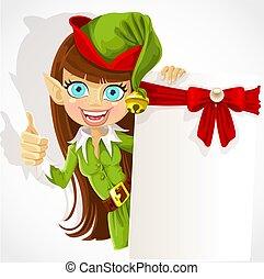 carino, ragazza, elfo, natale