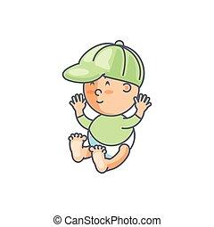 carino, ragazzo, berretto, carattere, avatar, bambino