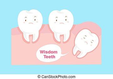 carino, saggezza, cartone animato, denti