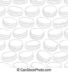 carino, schizzo, illustration., oggetti, scarabocchiare, handmade., dessert., seamless, amaretti, macaroons., vettore, amaretto, francese, macaroon., modello, doodles., design.