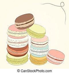 carino, schizzo, set, illustration., colorito, scarabocchiare, handmade., dessert., amaretti, oggetti, vettore, amaretto, francese, macaroon., doodles., design.