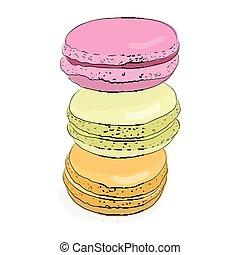carino, schizzo, set, illustration., colorito, scarabocchiare, handmade., dessert., isolato, amaretti, oggetti, vettore, amaretto, francese, macaroon., doodles., design.