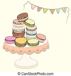 carino, schizzo, set, piastra., illustration., colorito, scarabocchiare, handmade., dessert., amaretti, oggetti, vettore, amaretto, francese, macaroon., doodles., design.