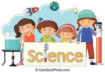 carino, scienza, bandiera, bambini