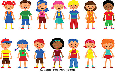 carino, set, bambini, -, vettore, illustrazioni