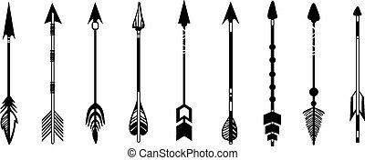 carino, set, mano, hipster, frecce, disegnato, doodles