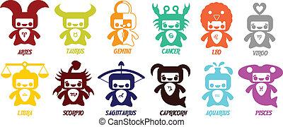 carino, set, oroscopo, -, simboli, astrologico, zodiaco, signs.
