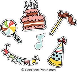 carino, set, pezze, compleanno