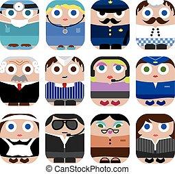 carino, set, professione, cartone animato, icona
