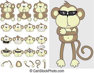 carino, set, scimmia